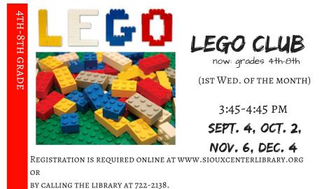 Lego Club 2nd-3rd grade